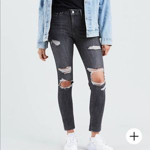 Levi's 721 high rise distressed skinny gray 27